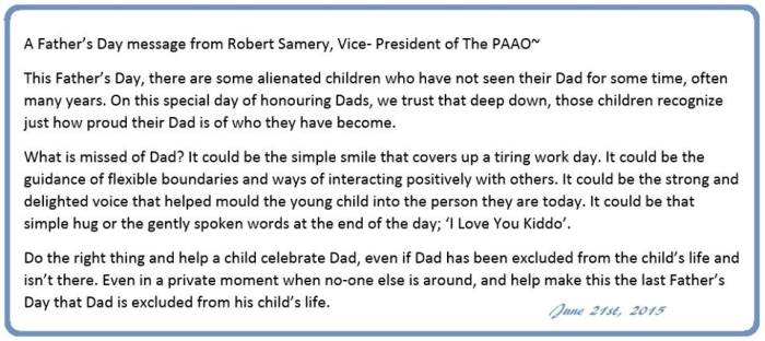 Father's Day Message from PAAO - 6-2015