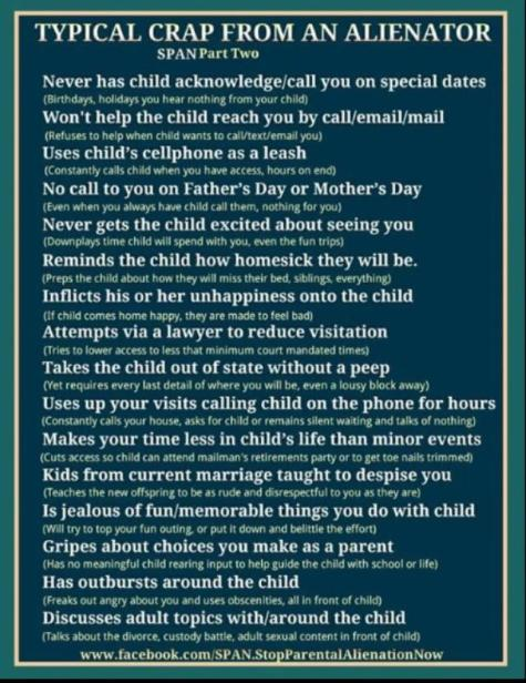 SYMPTOMS OF PARENTAL ALIENATION 2015